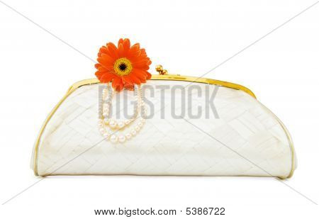 Vintage Mother Of Pearl Evening Bag Over White