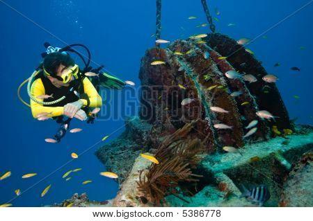 Female Diver Exploring A  Wreck