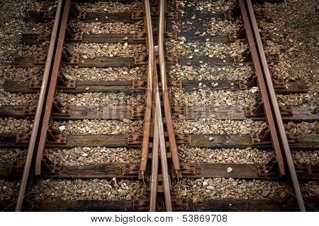 Detail shot of railway tracks