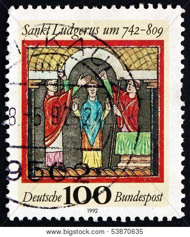 Postage Stamp Germany 1992 St. Ludgerus, Missionary