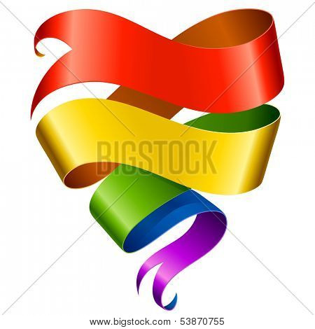 Vector rainbow ribbon in the shape of heart isolated on white background