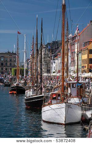 Old boats and houses in Nyhavn in Copenhagen