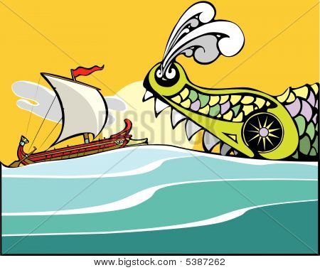 Greek Ship And Sea Monster.s