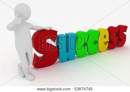 man attaining success. 3d illustration over white