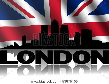 London Docklands skyline and text reflected with rippled British flag illustration