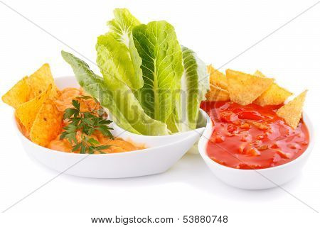 Nachos, Cheese And Red Sauce,  Vegetables