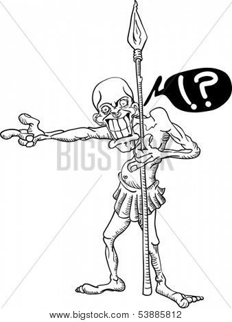 cartoon illustration of a tribal warrior with spear pointing finger