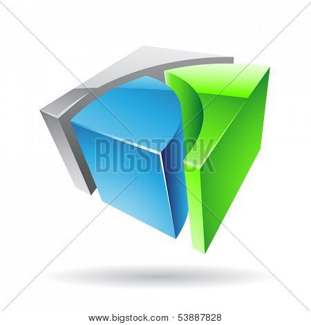 Colorful 3d Cubical Abstract Icon