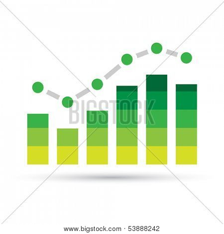 Illustration of Green Stats Bars isolated on a white background