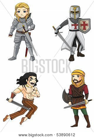 Warriors From Various Culture Set 4 (vector)