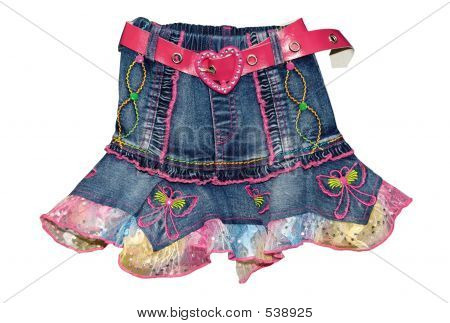 Blue Children Girl Mini Skirt Isolated