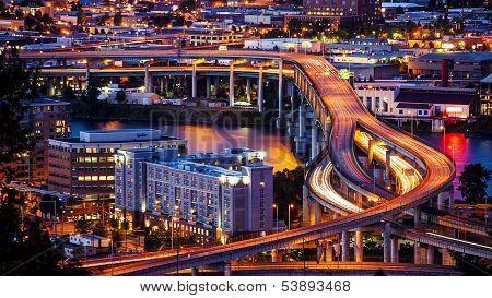 Portland, Oregon Freeway And Traffic