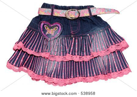 Blue Pink Children Girl Jeans Mini Skirt Isolated