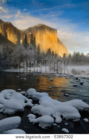 View of El Capitan from the Merced RIver at sunset in the winter