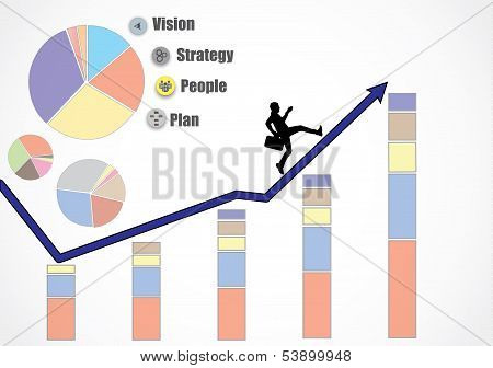 Business Man Running Up An Growth Arrow Heading For More Growth, Revenue, Profits, Turnover