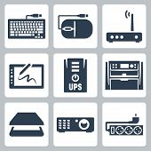 Vector Hardware Icons Set: Keyboard, Computer Mouse, Modem, Graphics Tablet, Ups, Multifunction Devi