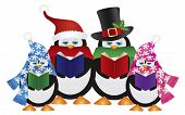pic of christmas song  - Penguins Christmas Carolers with Hats and Scarfs Isolated on White Background Illustration - JPG