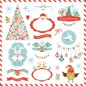 stock photo of candy cane border  - Set of Christmas graphic elements for your design - JPG