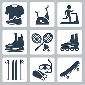 stock photo of roller-skating  - Vector sports goods icons set - JPG