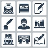 picture of inkpot  - Vector writer icons set - JPG