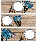 stock photo of spearfishing  - Set of spearfishing banners with metal empty porthole on wooden floor with sand seashells flippers snorkel and mask for diving and spear gun - JPG