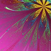 Beautiful Fractal Flower In Green And Yellow On Violet Background. Computer Generated Graphics.