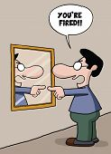 pic of self-employment  - Cartoon of a self employed man sacking himself on the mirror - JPG