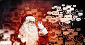 stock photo of letters to santa claus  - Image of Santa Claus in red costume - JPG