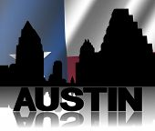 stock photo of texans  - Austin skyline and text reflected with rippled Texan flag illustration - JPG