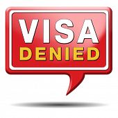 visa denied or rejected immigration stamp for crossing the border passing customs for tourism and pa