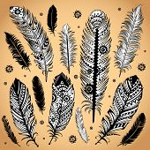 picture of shaman  - Fashion ethnic feather illustration can be used as greeting card - JPG