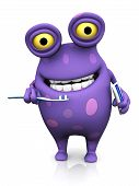 image of monsters  - A cute charming cartoon monster holding a toothbrush in one hand and toothpaste in the other ready to brush his teeth - JPG