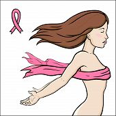 stock photo of mammogram  - Vector illustration of a woman standing with her hands wide open - JPG