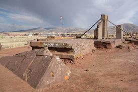 foto of pumapunku  - Ancient ruins of Puma Punku - JPG