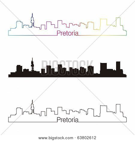 Pretoria Skyline Linear Style With Rainbow