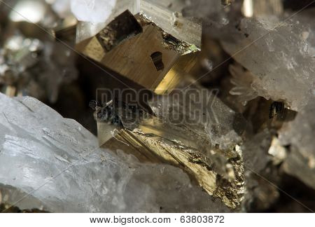 Pyrite, Or Iron Pyrite, Is An Iron Sulfide. Macro