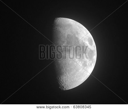 Moon. Half Moon. Black And White Photo