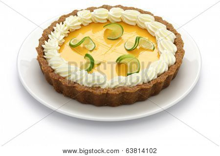 homemade key lime pie isolated on white background