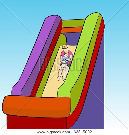 An image of a mother and child on an inflatable slide.