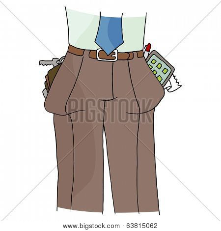 An image of a man with full pockets.