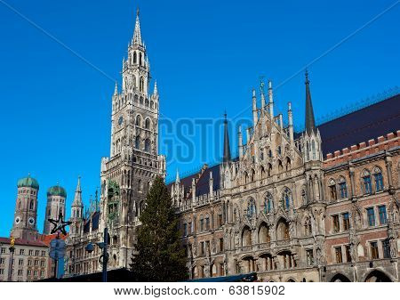 The Marienplatz In Munich With Tree Christmas