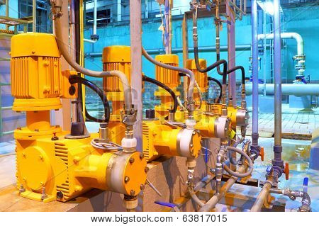 Factory  equipment. Electric pumps