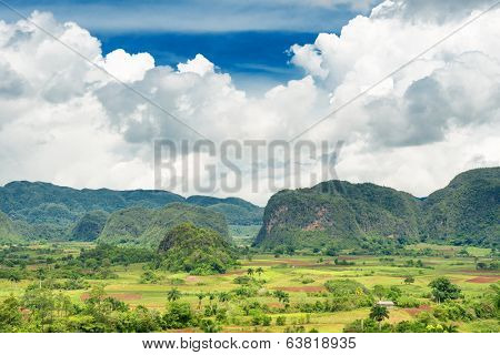 Scenic view of the Vinales Valley in Cuba with a beautiful puffy clouds sky