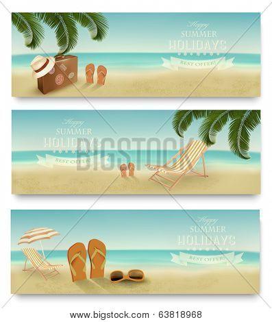 Three retro summer vacation banners. Vector.