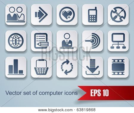 Vector set of square website and internet icons with red ribbon.