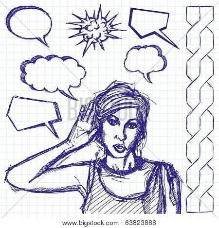 sketch, comics style female overhearing something with her ear and hand
