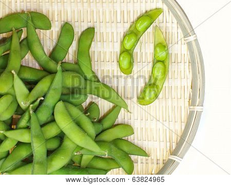 close - up of Edamame soy beans
