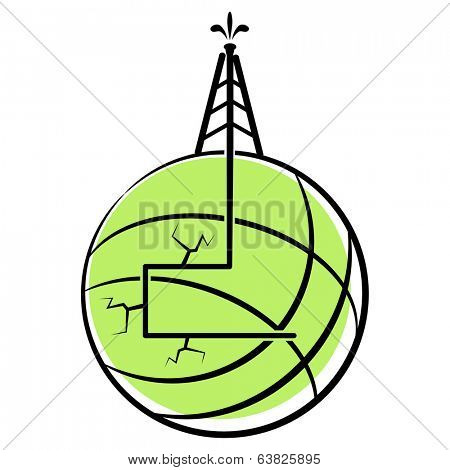 An image of a globe with hydraulic fracking.