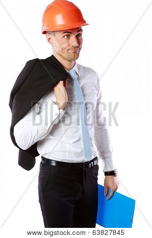 Portrait of a dissatisfied businessman in helmet over white background