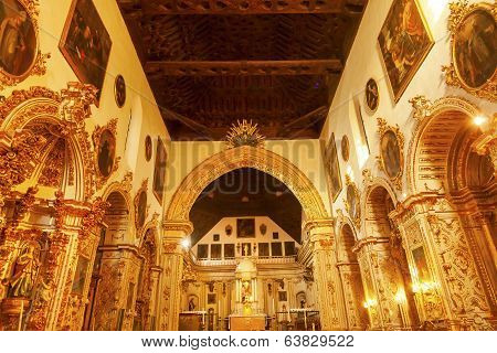Ornate Golden Basilica Paintings Church Iglesia Of Santa Anna Rio Darro Granada Andalusia Spain